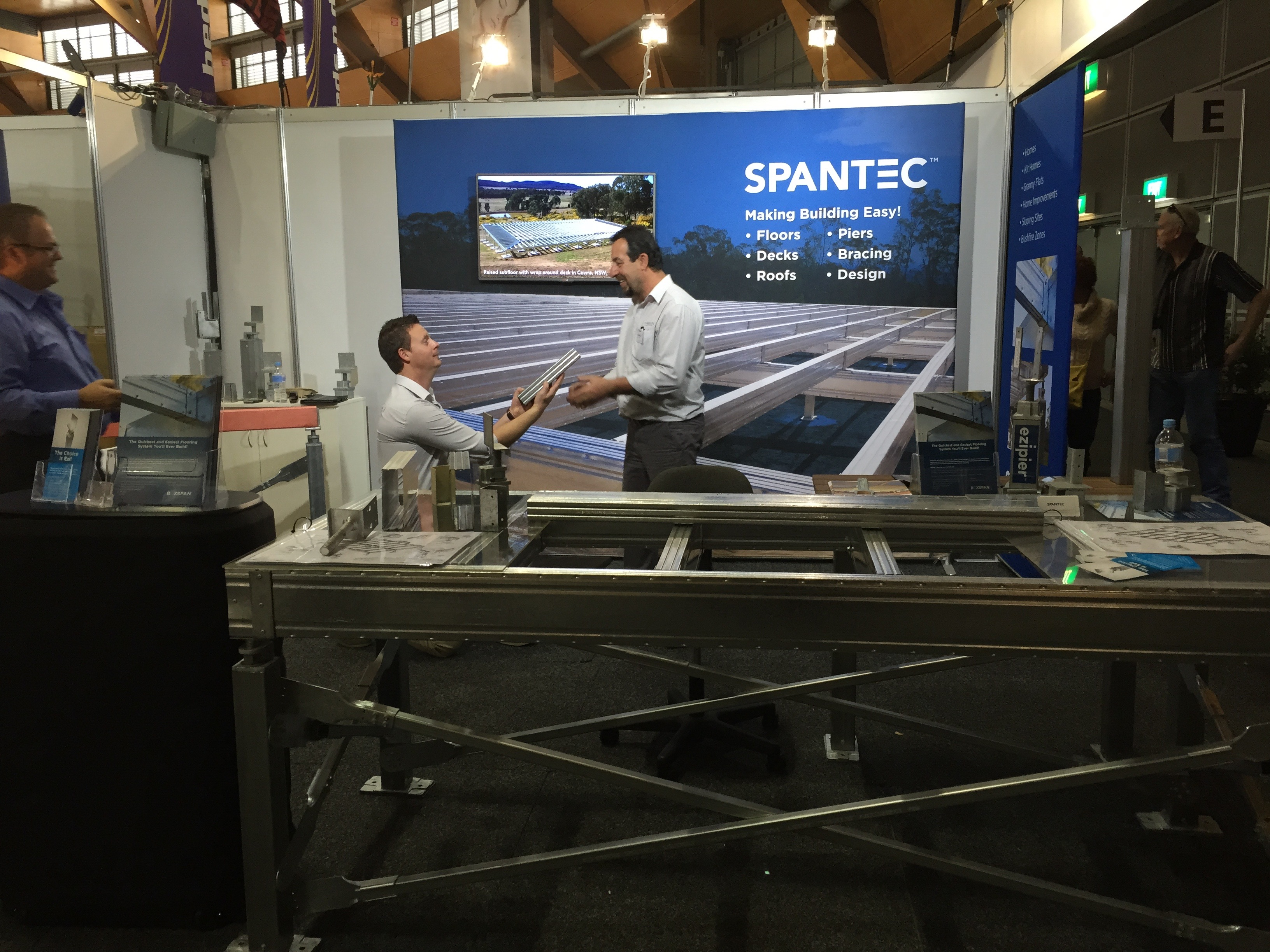 Salespeople Steve Targonski and Frank Paolucci at the Spantec stand which is a at trade shows across Australia total tool