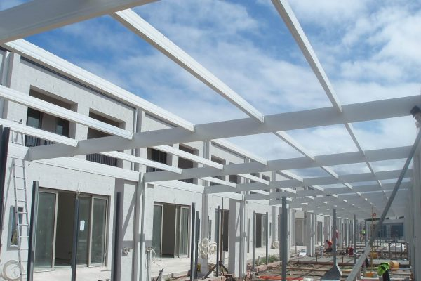 Powddercoated Boxspan exposed roof frame