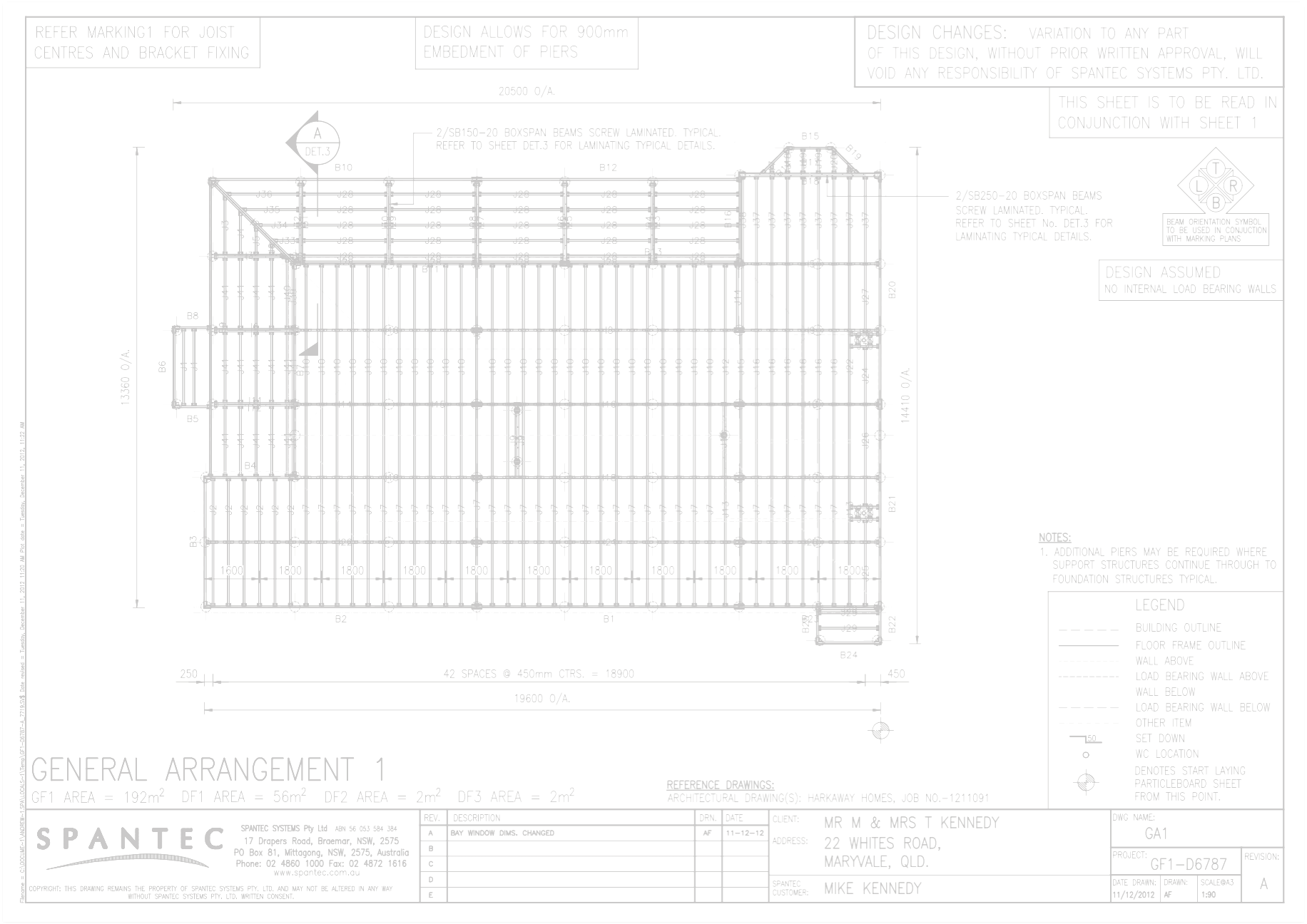 Example of a General Arrangement drawing for residential floor framing