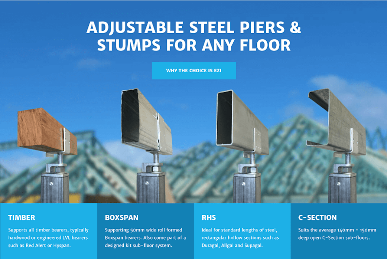 Adjustable steel piers & Stumps for any floor
