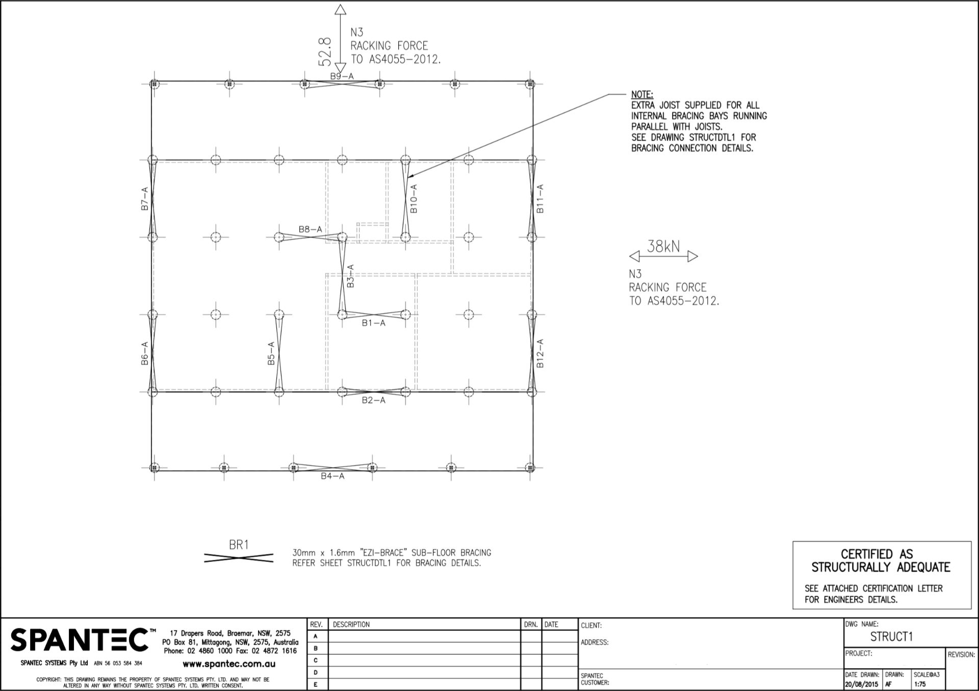 Example of a Bracing Detail Plan drawing produced using CAD drafting software
