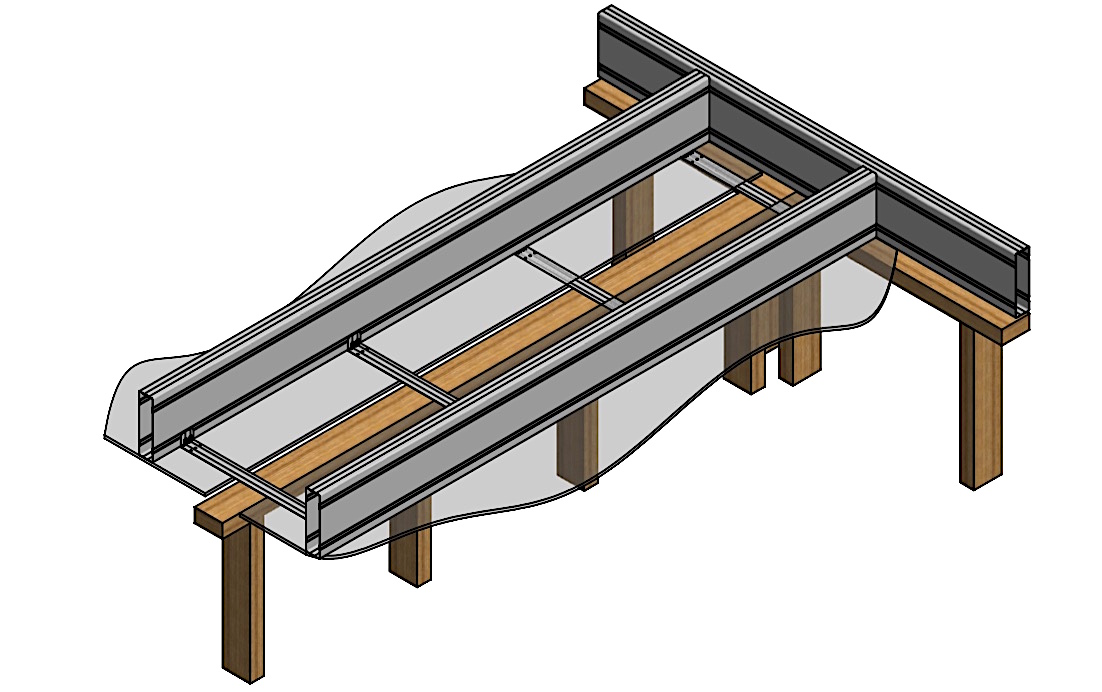 Drawing illustrating installation of ceiling trimmers beneath a Boxspan steel upper floor framing system