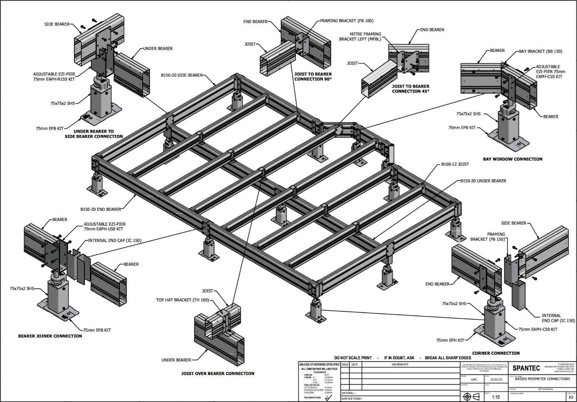 Illustration of standard floor connections in raised perimeter sub floor framing systems.
