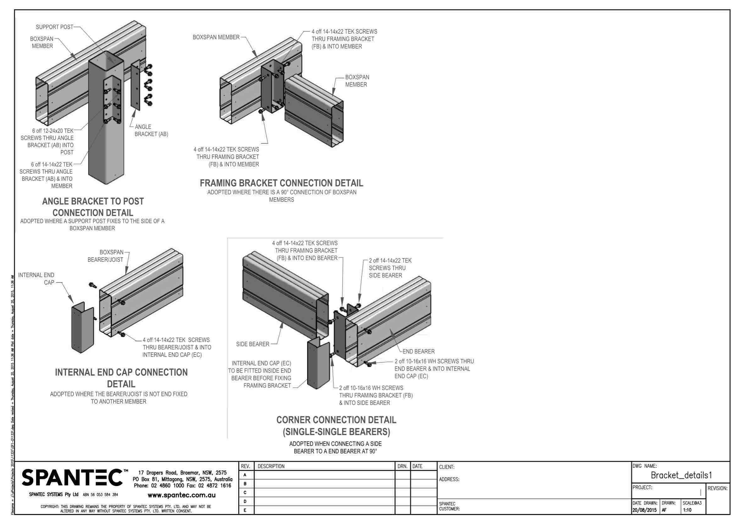 Bracket connection detail drawing for steelfloors AB100 AB150 AB200 AB250 FB100 FB150 FB200 FB250 IEC100 IEC150 IEC200 IEC250 CB100 CB150 CB200 CB250