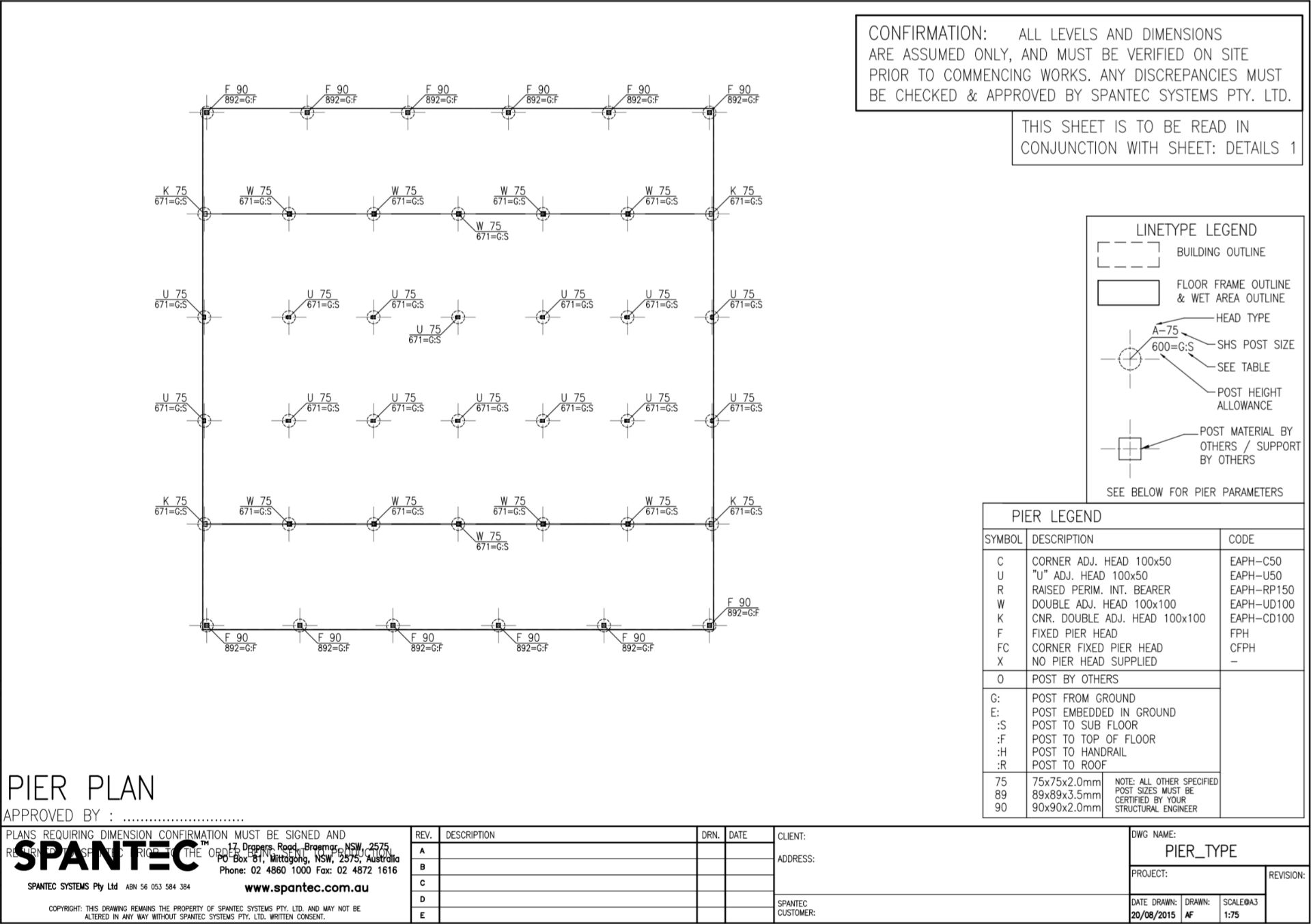 Example of a Pier Plan drawing produced using CAD drafting software