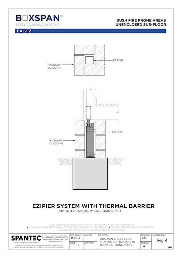 CAD drawing diagram of masonry enclosed Ezipier system for floor systems in in bushfire prone areas