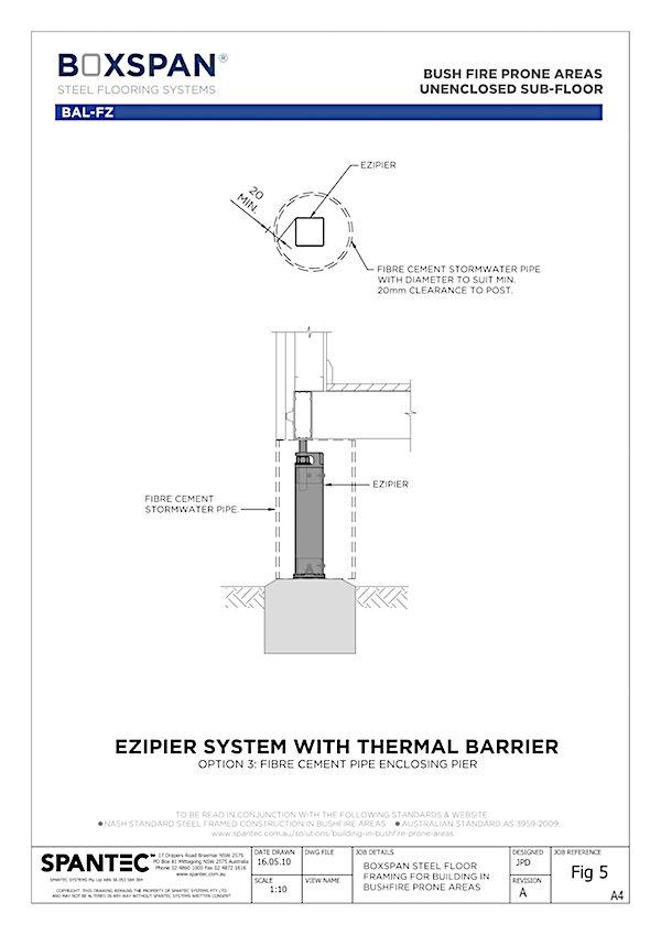CAD drawing illustaration of fibre cement enclosed Ezipier for residential floor framing in bushfire prone areas