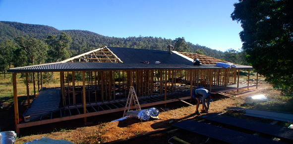 Timber wall framing on Boxspan floor and deck frame with mitred corners