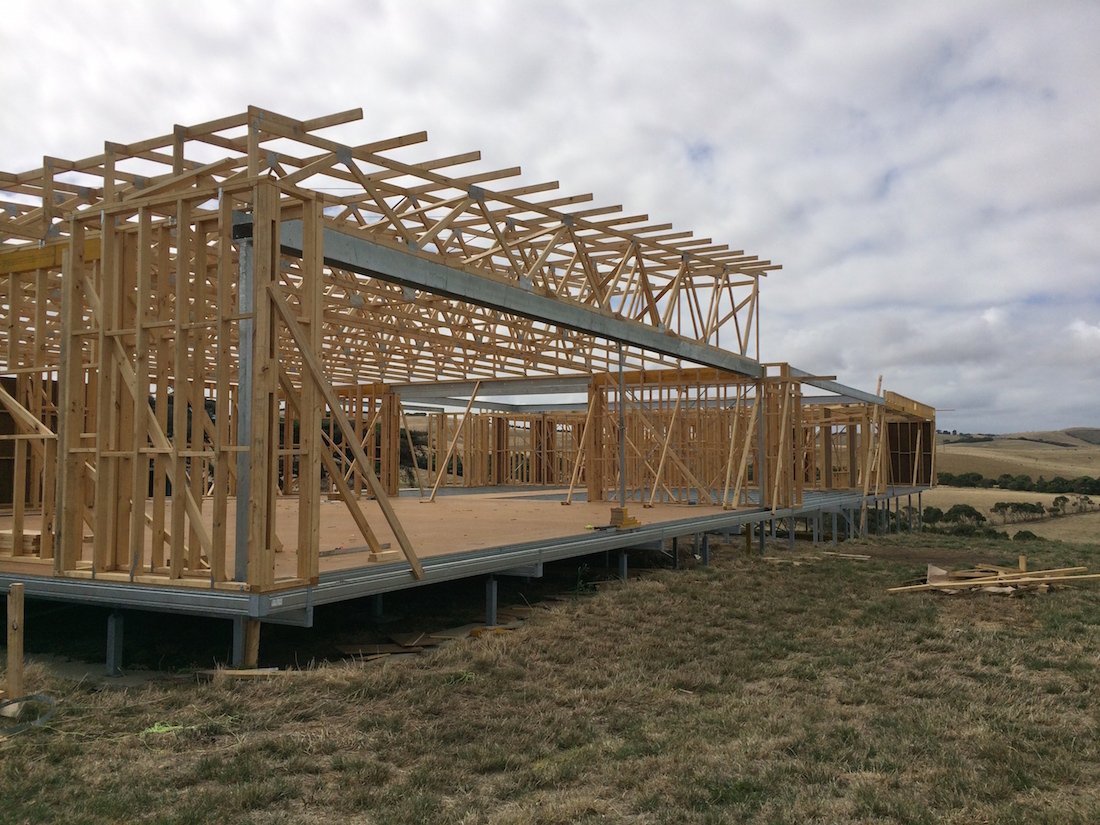 Boxspan floor frame with timber wall frames
