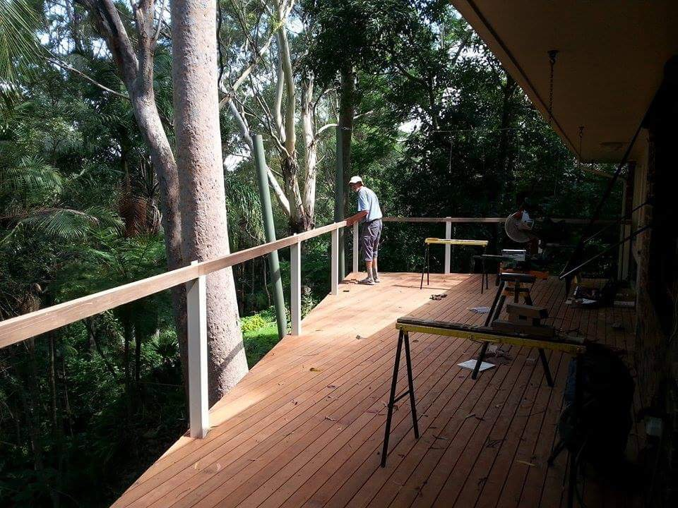 Decking boards installed diagonally over Boxspan deck frame