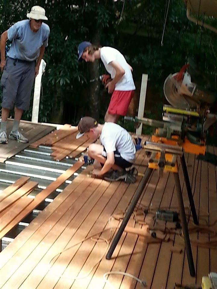 A family project installing decking boards over the Boxspan deck frame