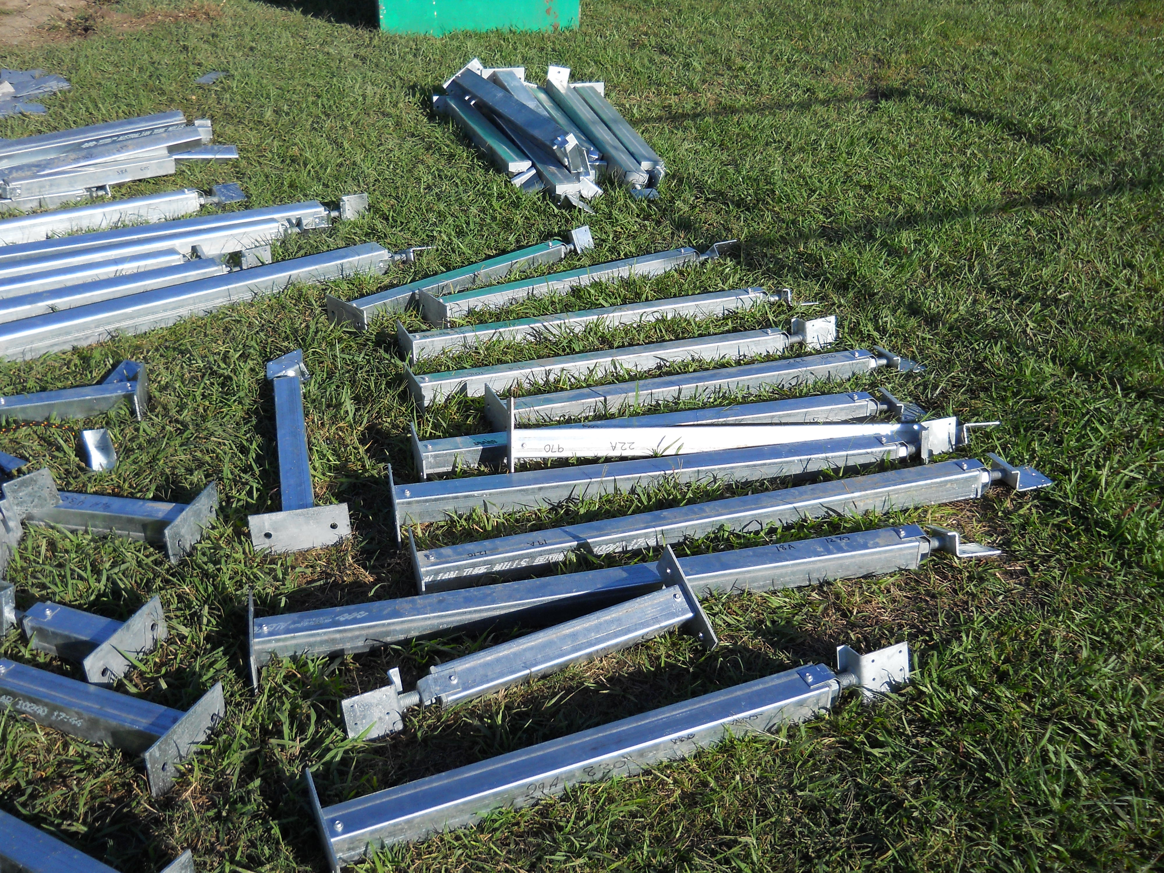 Steel pile stumps ready to install