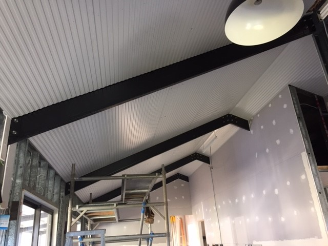 Exposed powder coated steel Boxspan beam rafters