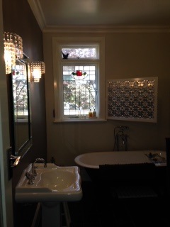 Bathroom in completed house on Boxspan frame