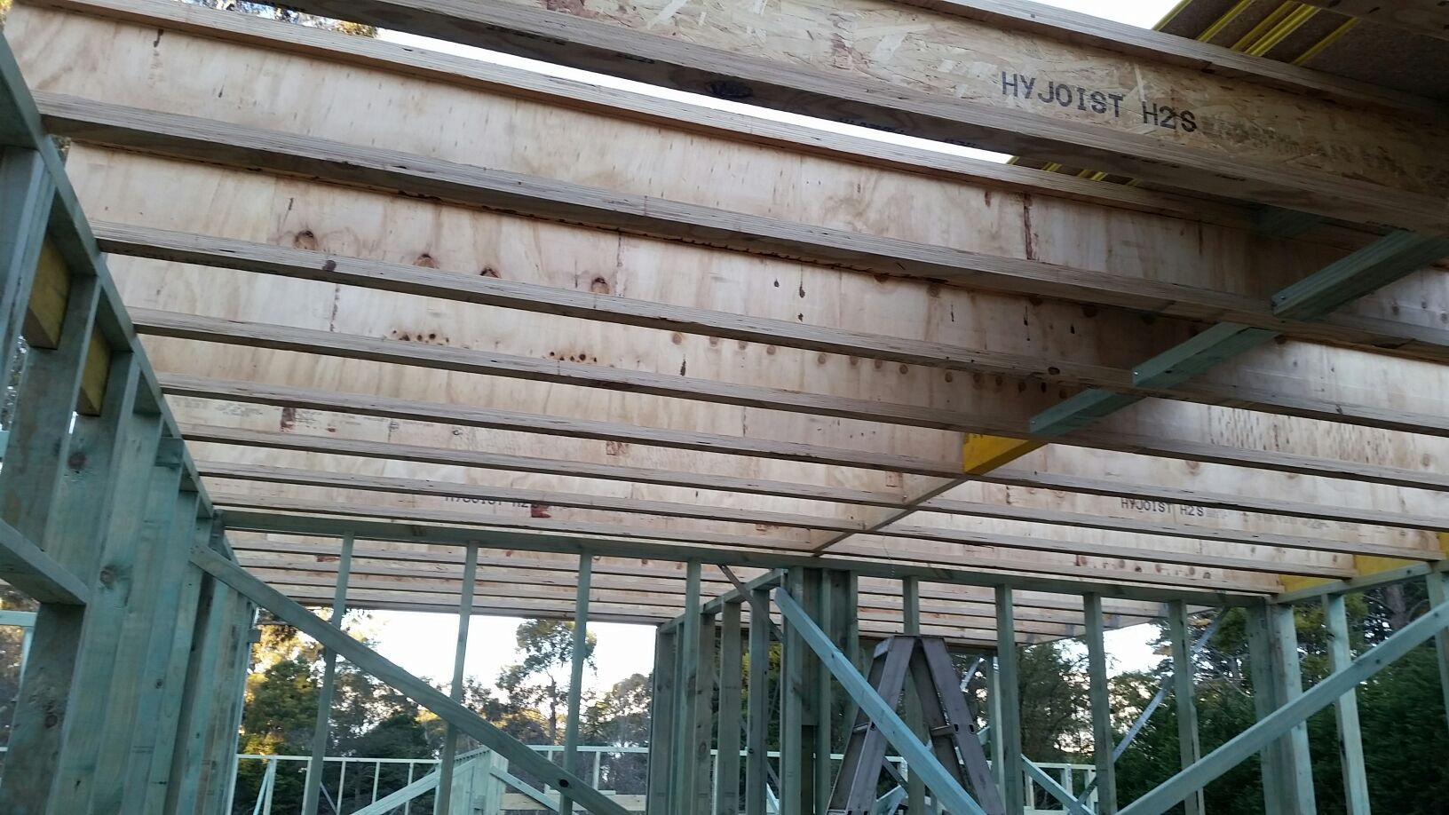 Timber wall and first floor frames over Boxspan floor frame
