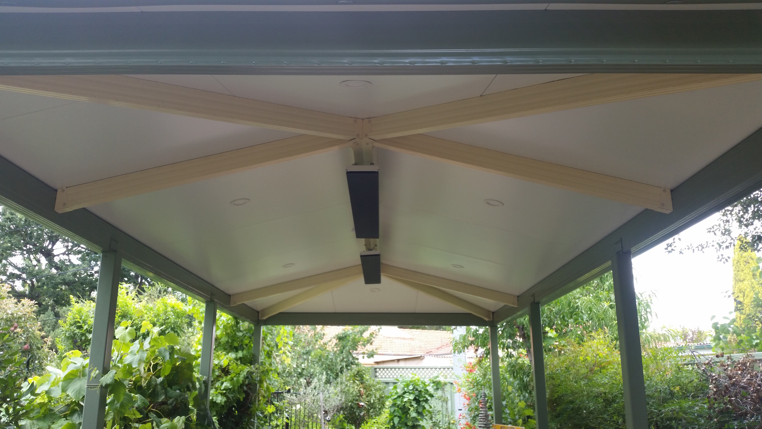 Hipped roof pergola awning