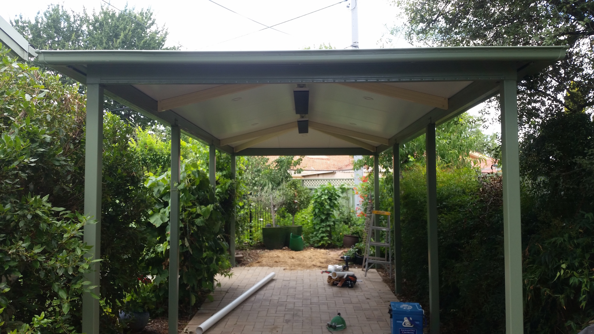 Hipped roof awning outdoor area powdercoated