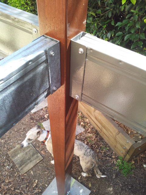 Bearers attach to timber verandah supporting posts with framing brackets