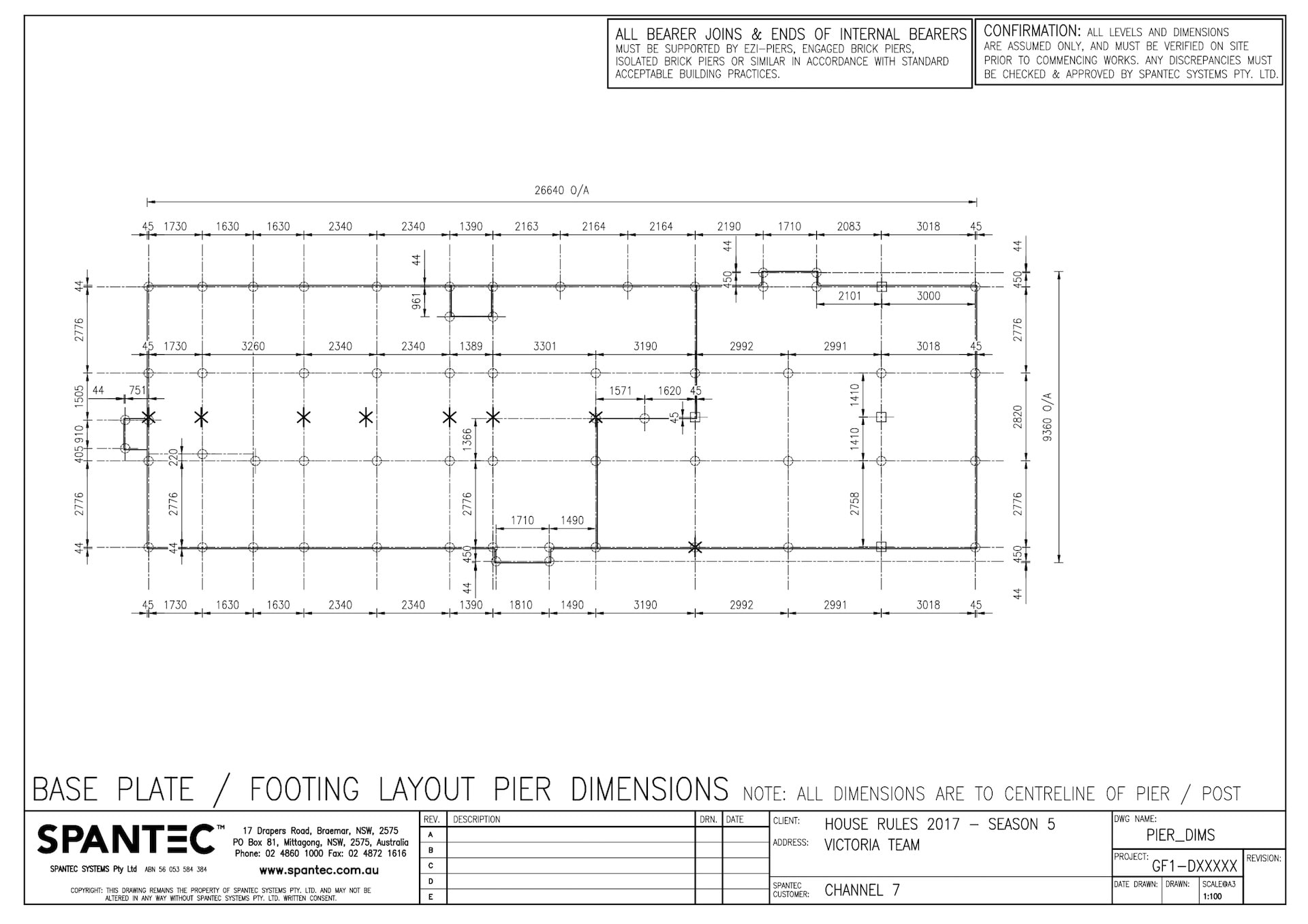 Base Plate Footing Layout Pier Dimensions
